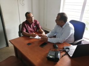 Joint Controller of Examinations MK Pramod finalises the publication of final degree results with senior Assistant Registrar Philip Parackal
